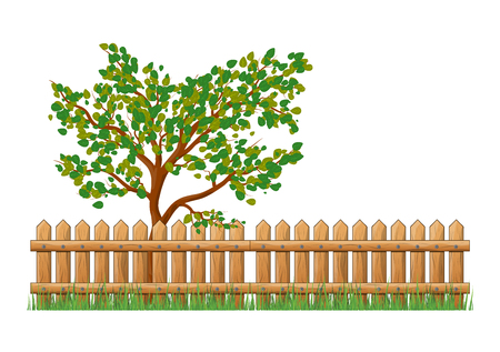 Wooden Fence with grass and tree isolated vector symbol icon design. Beautiful illustration isolated on white background Illustration