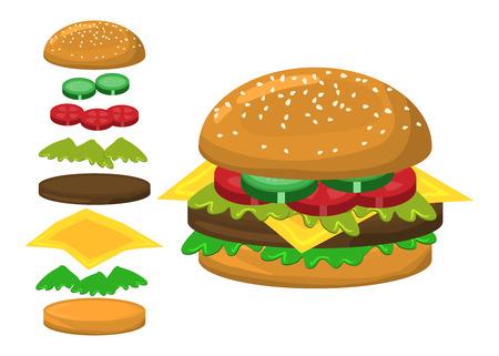 sesame: hamburger vector symbol icon design. Beautiful illustration isolated on white background