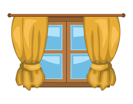 cartoon curtain icon design beautiful illustration.