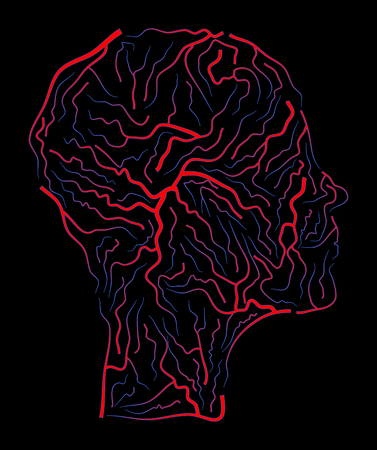 vein  human head vector symbol icon design. Beautiful illustration isolated on black background