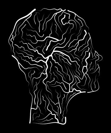 cerebral artery: vein  human head vector symbol icon design. Beautiful illustration isolated on black background