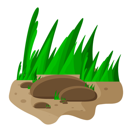 cobble: grass and rocks cartoon vector symbol icon design. Beautiful illustration isolated on white background