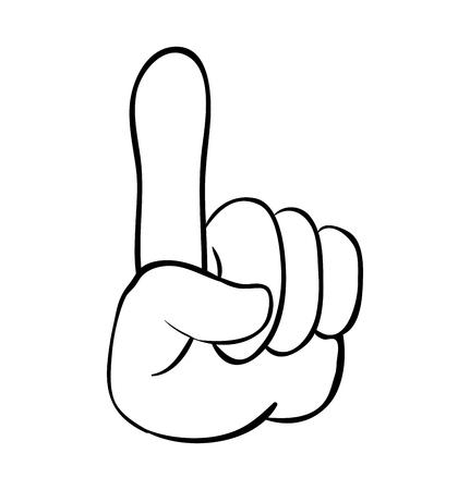 puntero de mano, dedo hacia arriba diseño de icono de símbolo de vector de dibujos animados. Hermosa ilustración aislada sobre fondo blanco