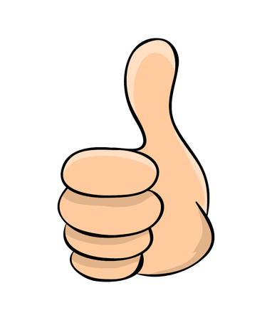 hand thumb up cartoon vector symbol icon design. Beautiful illustration isolated on white background Ilustracja