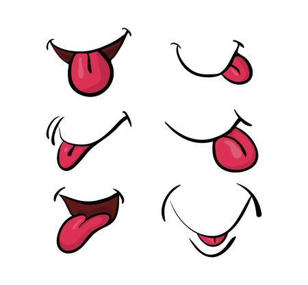 cartoon mouth with tongue set vector symbol icon design. Beautiful illustration isolated on white background Illustration