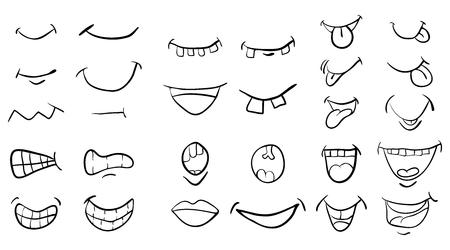 Boca de dibujos animados establece el diseño de icono de símbolo de vector. Hermosa ilustración aislada sobre fondo blanco Foto de archivo - 85318626