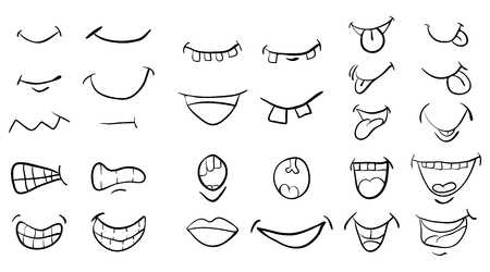 cartoon mouth set vector symbol icon design. Beautiful illustration isolated on white background