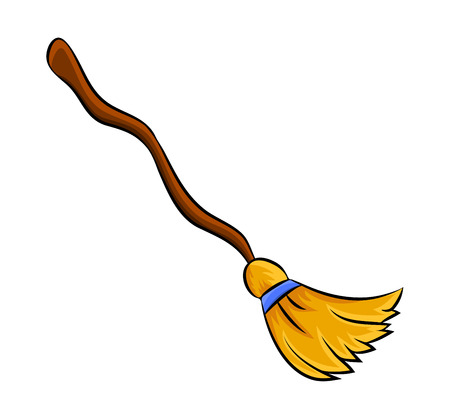 witch broom cartoon vector symbol icon design. Beautiful illustration isolated on white background