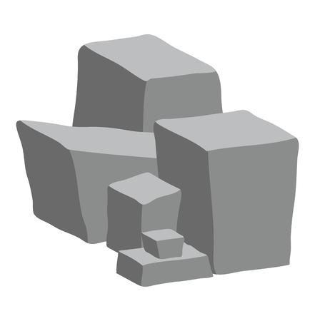 白い背景に分離されたヒープ ベクター デザインを石します。