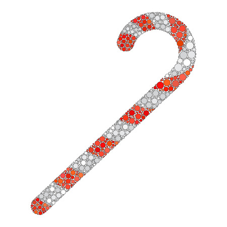 Red candy cane dotted icon.