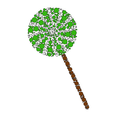 Green candy stick dotted icon. Illustration
