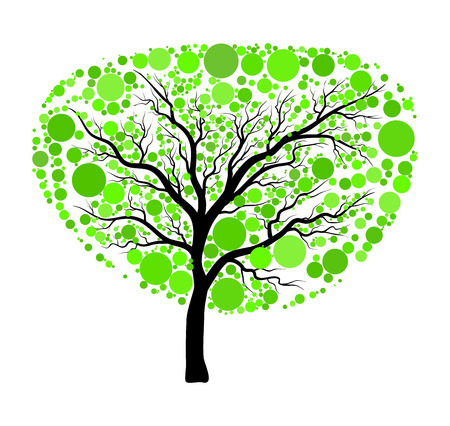 Spring green tree vector isolated on white background
