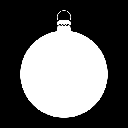 Simple Bauble outline for christmas tree isolated on black background