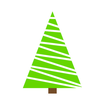 Christmas Tree Green Simple Outline Design On White Background Stock Vector