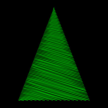 Christmas tree scribble green design on black background.