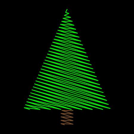 Christmas tree scribble green design on black background.