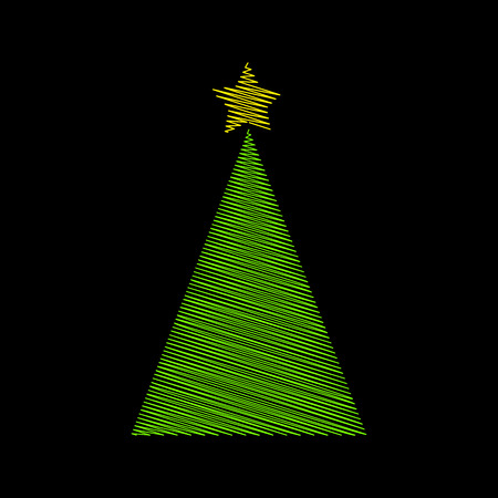 Christmas tree green scribble with star design on black background.