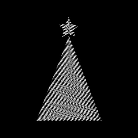Christmas tree scribble with star design isolated on black background  Illustration