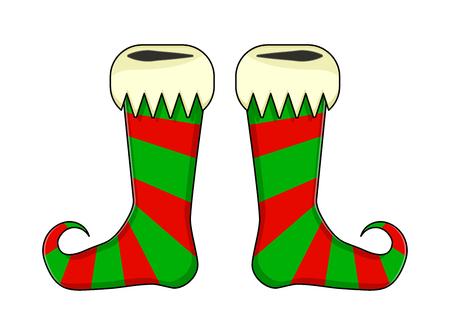 Elf shoes pair stripes design on white background, vector illustration.