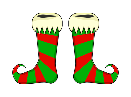 Elf shoes pair stripes design on white background, vector illustration.