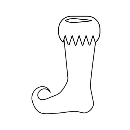 Elf shoe outline design isolated on white background Иллюстрация