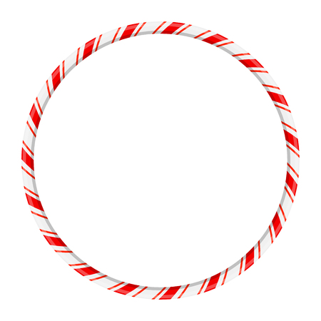 Candy cane circle frame for christmas design isolated on white background