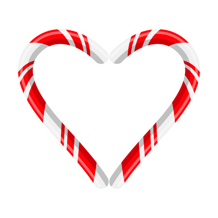 Candy cane heart for christmas design isolated on white background  Illustration