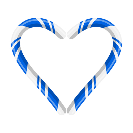 Candy cane heart for christmas design isolated on white background