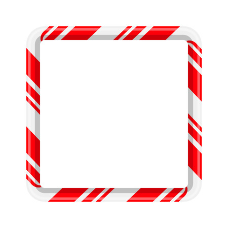 Candy cane frame border for christmas design isolated on white background