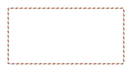 白い背景に隔離されたクリスマスデザインのためのキャンディ杖フレームボーダー