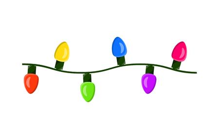 light bulb, garland string christmas design isolated on white background