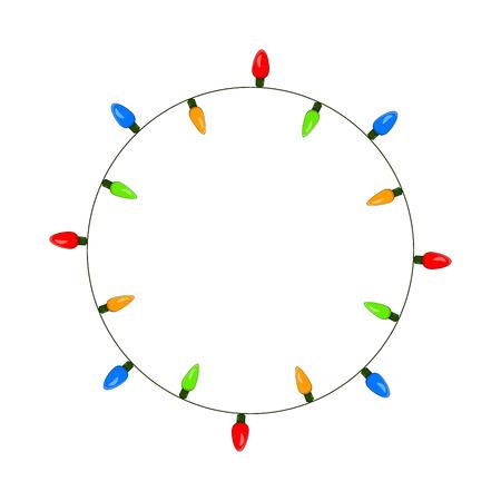 전구, garland circle 크리스마스 디자인 흰색 배경에 고립 된 스톡 콘텐츠 - 92116302