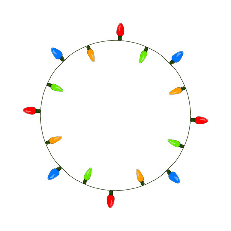 light bulb, garland circle christmas design isolated on white background