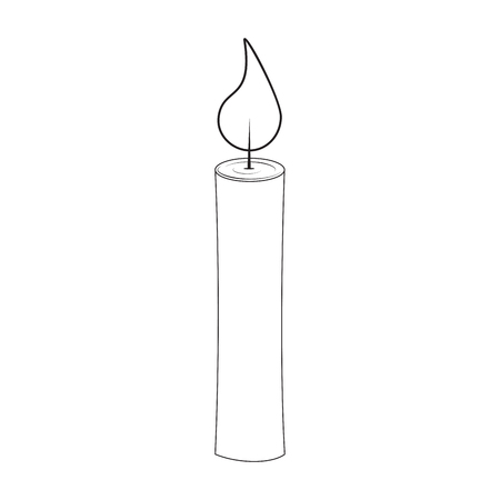Christmas candle outline for christmas design isolated on white background