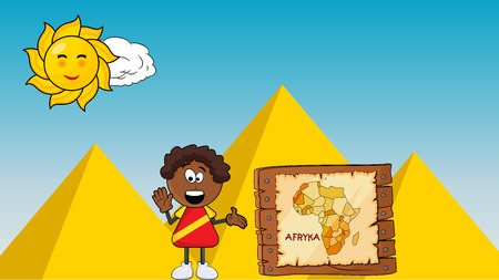 Black African smile boy with Africa map cartoon design on pyramid background. Illustration