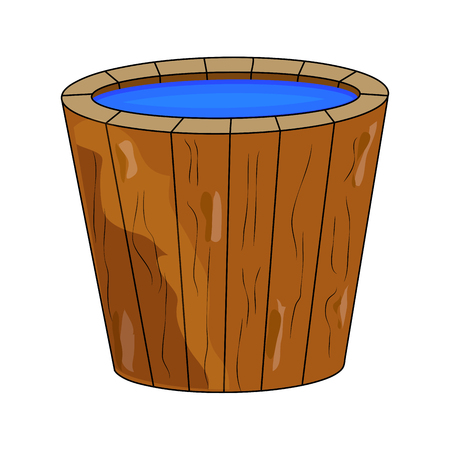 wooden bucket full of water cartoon isolated on white background