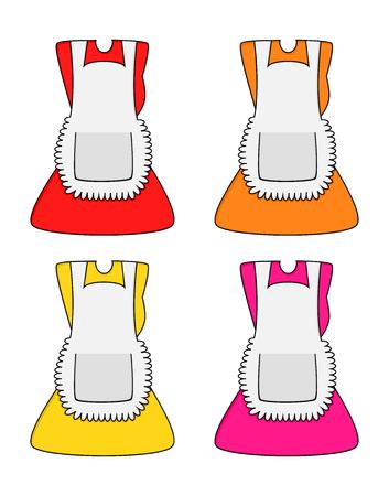 Cartoon dress with pinafore set isolated on white background Illustration