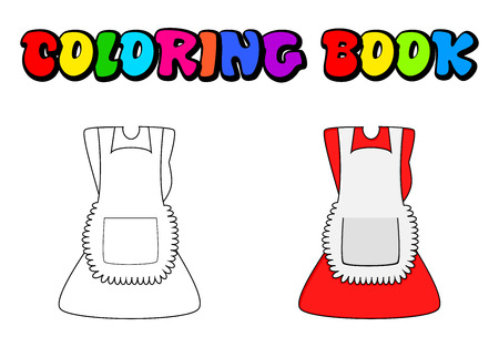 Cartoon dress with pinafore coloring book, outline isolated on white background Illustration