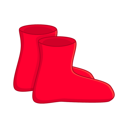 rubber boots, cartoon simple red gumboots isolated on white background