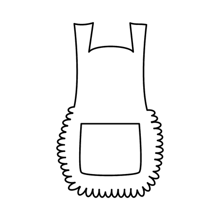 Apron, cartoon pinafore outline isolated on white background