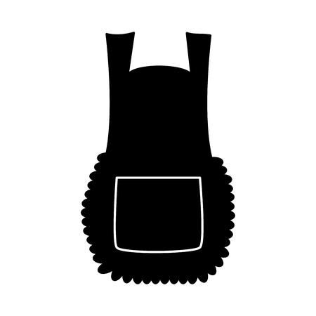 Apron, cartoon pinafore silhouette isolated on white background