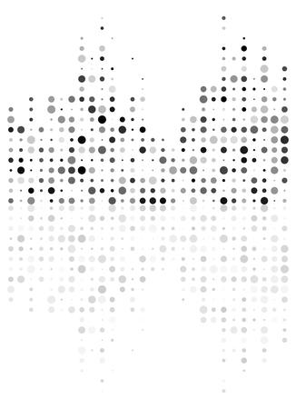 Dotted equalizer mirror reflection, sound wave symbol isolated on white background Illustration
