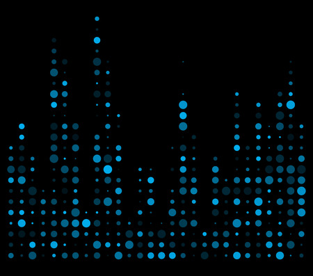 Blue dotted equalizer, sound wave symbol isolated on black background