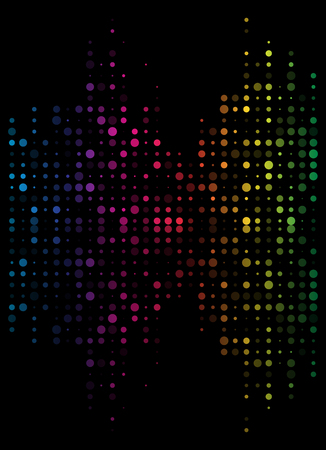 Dotted sound wave, equalizer in rainbow color isolated on black background