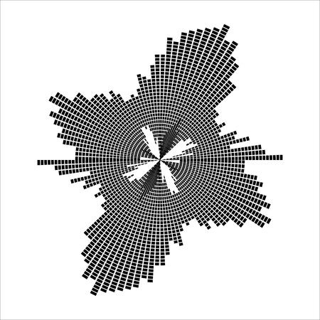 Round equalizer, sound wave symbol isolated on white background