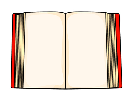 Red cartoon open book isolated on white background. Ilustracja