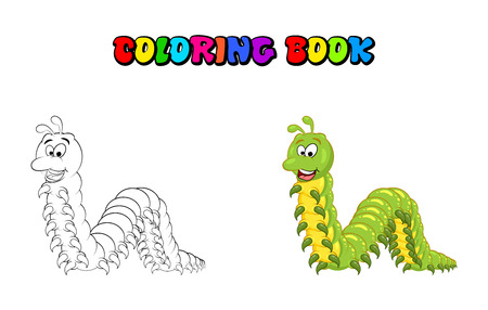 Cartoon millipede character coloring book isolated on white backdrop