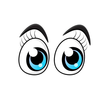 Blue cartoon character eyes with eyelashes isolated on white backdrop Çizim