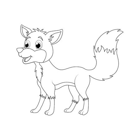 Cartoon fox outline isolated on white background  向量圖像
