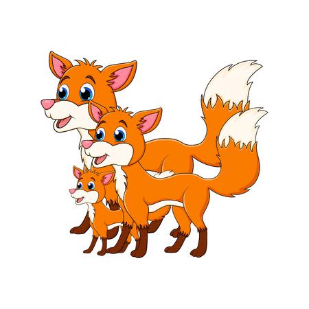 Cartoon fox family isolated on white background